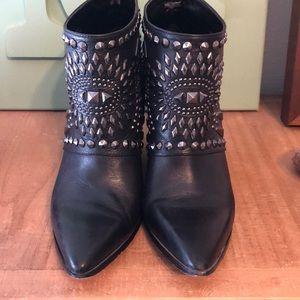 Studded leather heels
